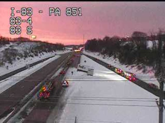 A multi-vehicle accident on I-83 southbound has caused a lane restriction.