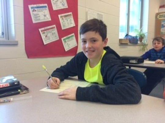 Garrison Peak, a sixth-grader at D.C. Everest Middle