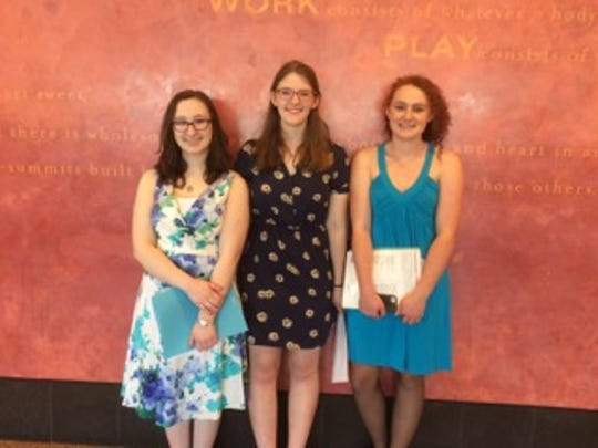 Winners of the Thursday Morning Musicales scholarships are, from left,  Sophia Genier, Nicole Walrath and Grace Marshall.