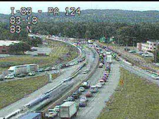Heavy traffic reported on Interstate 83 on Thursday