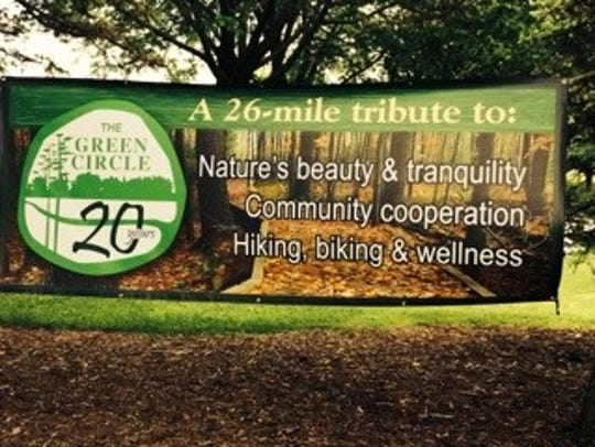 A sign comemmorating the 20th Anniversary of the Green
