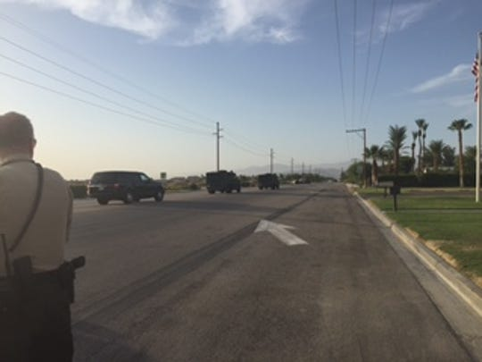 Police closed down a part of Jackson Road in Coachella Sunday after receiving reports of a possible shooting.