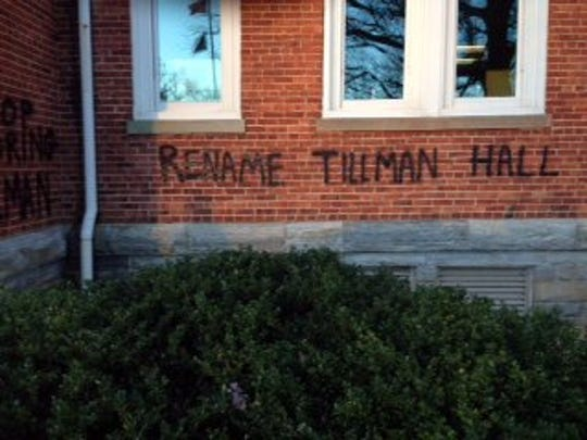Tillman Hall on the Clemson University was vandalized in January.