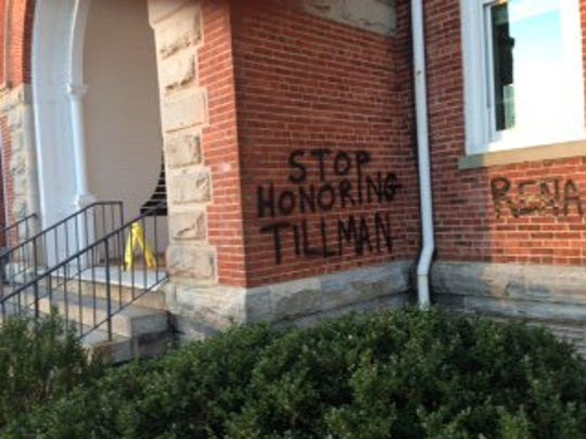 Tillman Hall on the Clemson University campus was vandalized in January.