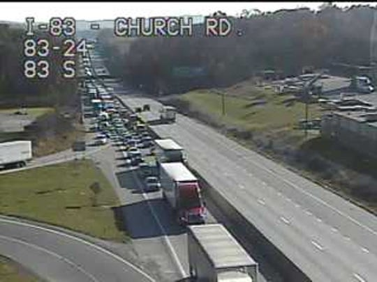 Traffic backed up on Interstate 83 at Church Road on Tuesday afternoon because of a crash.