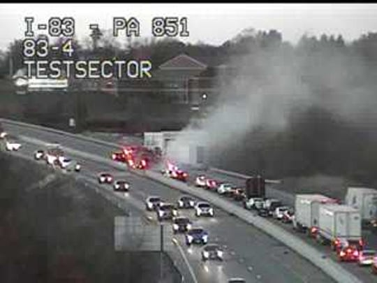 Interstate 83 North is being shut down because of a tractor-trailer fire, according to York County 911.
