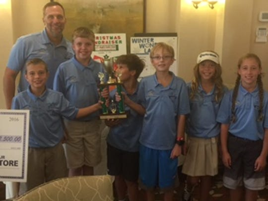 Laurel Oak Elementary School's Conner Ariza, Andrew Pitts, Jonathan Elter, Alex Grell, Pearl Jenkins, Gianna Jason with Coach Dan Ariza won the Gold Division of The First Tee of Naples/Collier Elementary School Championships on Saturday, Nov. 19, 2016, at Quail Village Golf Club