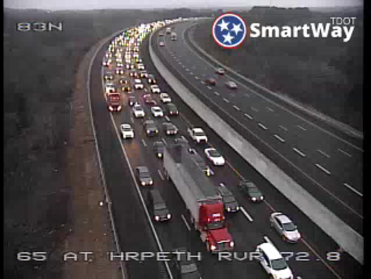 Traffic congested on I-65 N near the Old HIckory Boulevard