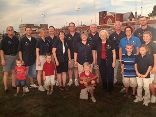 Members of the Bartal family came together in 2010 at Alumni Stadium to introduce their sponsorship of the Cedar Bowl trophy that is awarded each year to the winner of the Lebanon-Cedar Crest football rivalry.