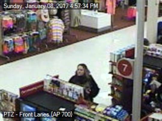 "Chambersburg police  identified two ""persons of interest,"" including this woman, they think might have information about the theft of a purse from a car Saturday, Jan. 21."