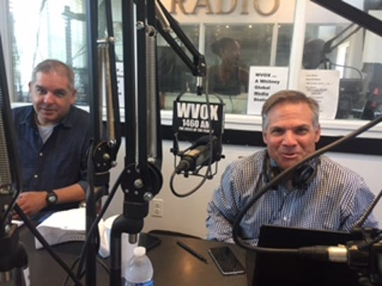 Journal News/lohud.com investigative reporters Jorge Fitz-gibbon, left, and Tom Zambito, talking immigration and Indian Point at WVOX studios.