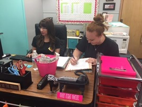 Michele Beers and Amber Musick, fifth-grade teachers at Alta Loma Elementary prep for the 2017-18 school year.