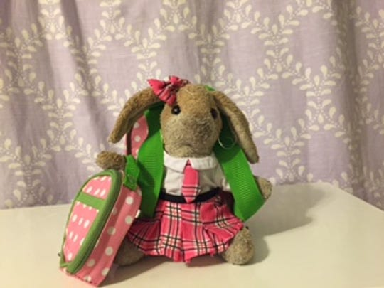 Spotty, a much-loved bunny in our house, is dressed and ready for school.
