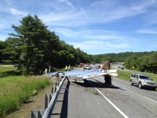 Semi-trailer lost a large bridge beam on Interstate 91 in North Hartland on Monday morning.