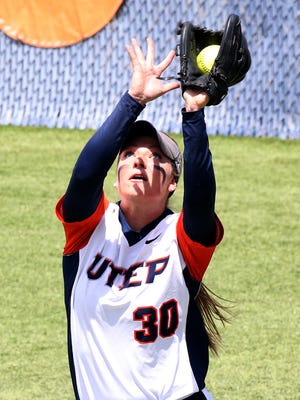 UTEP right fielder Taylor Sargent grabs a pop fly against UAB Saturday at Helen of Troy Softball Complex.