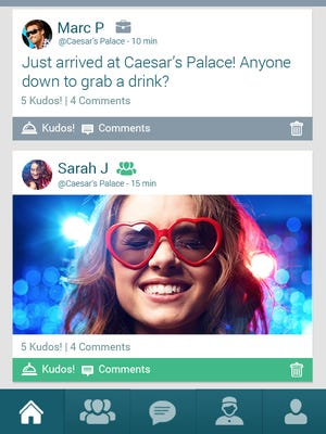 """The """"social feed"""" screen of the new app HelloTel, which allows travelers to connect with fellow hotel guests."""