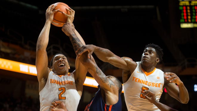 Tennessee forward Grant Williams (2) grabs the rebound during Tennessee's home exhibition basketball game against Carson-Newman at Thompson-Boling Arena on Thursday, Nov. 2, 2017.