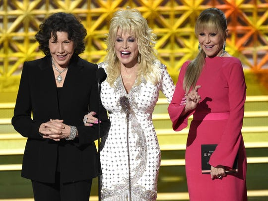 Lily Tomlin, from left, Dolly Parton and Jane Fonda