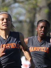 Mansfield Seniors Alaysia Grose and Naya Franklin compete