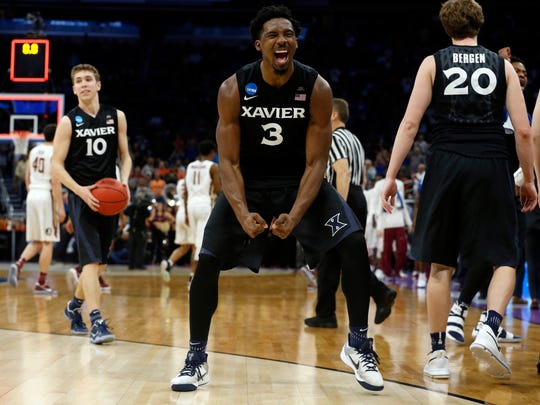 Xavier Musketeers guard Quentin Goodin (3) reacts to