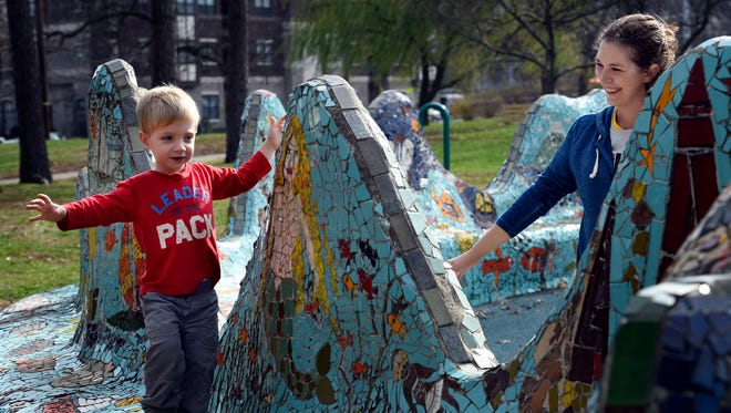 Emily Casey enjoys a pleasant day at Fanie Mae Dees park with her son Will on Dec. 11, 2015, in Nashville.