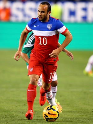 USA midfielder Landon Donovan (10) against Mexico during a friendly match in April. Donovan's World Cup jersey sales continue despite not making the squad.
