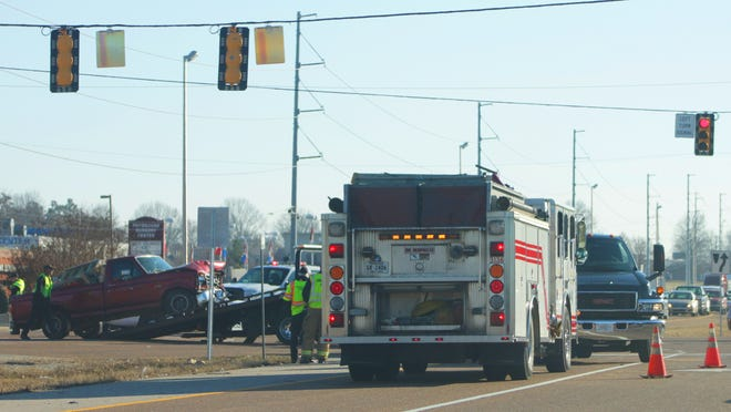 An accident occurred at the intersection of Channing Way and the U.S. 45 Bypass on Friday afternoon, creating a traffic jam that extended almost half a mile down the bypass. Police were on the scene to direct traffic flow.
