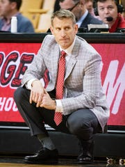Alabama head coach Nate Oats watches his team play during the first half of an NCAA college basketball game against Missouri, Saturday, March 7, 2020, in Columbia, Mo. (AP Photo/L.G. Patterson)