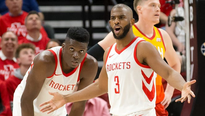Houston Rockets guard Chris Paul reacts during the second half of Game 3 against the Utah Jazz.