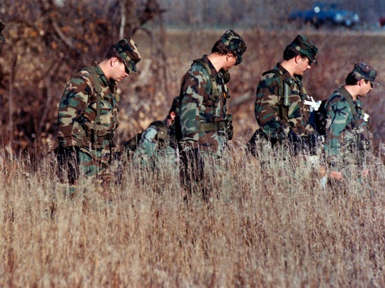 National Guard troops join in the search for Jacob Wetterling in 1989.