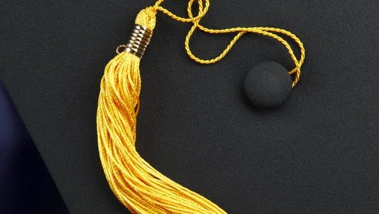 A mortarboard and tassel from a college graduation cap.