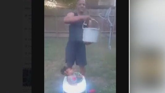 Some say a grandfather took the ice bucket challenge way too far when he poured freezing cold water on his 10-month-old baby.