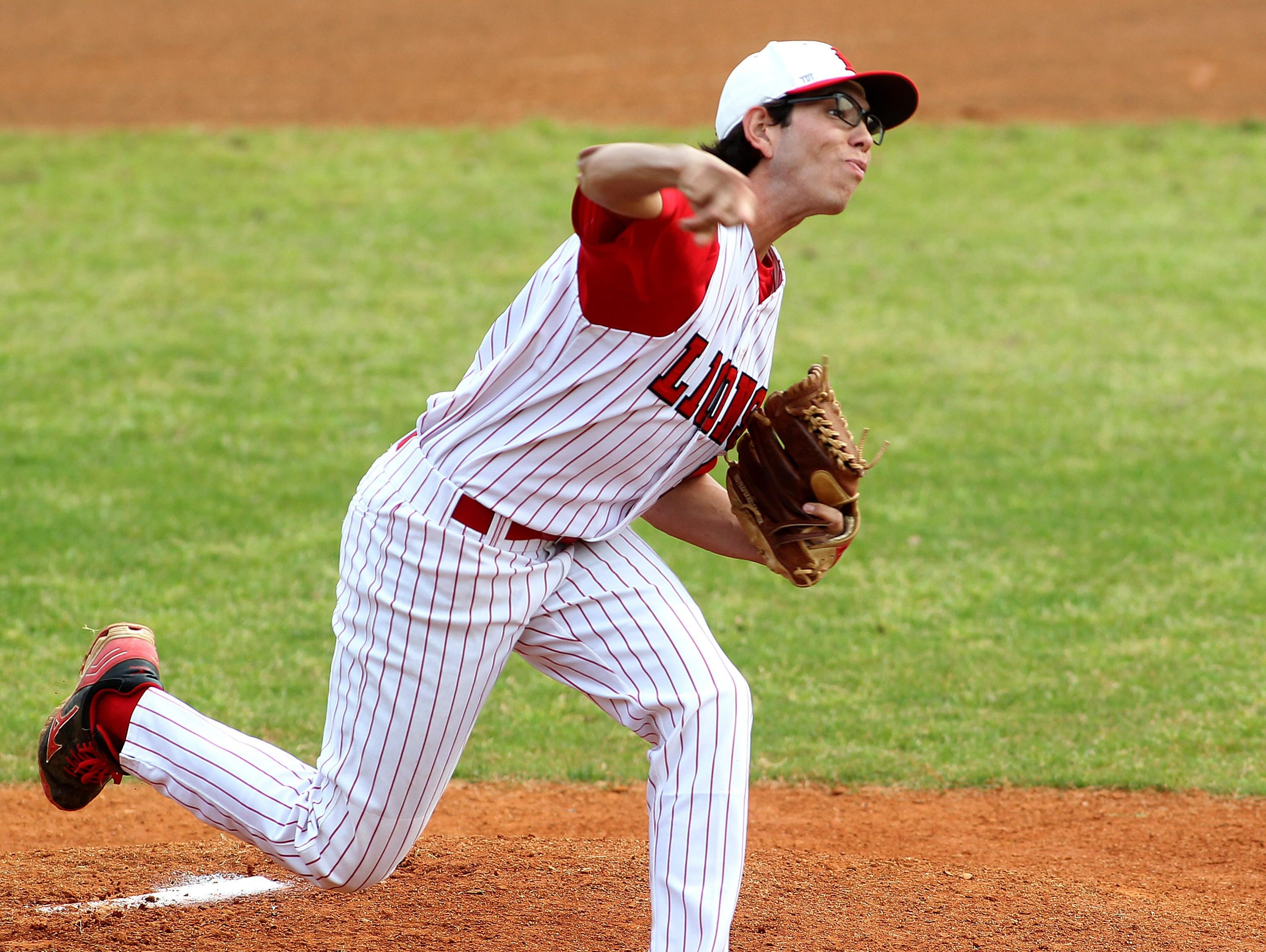 Leon pitcher Thomas Nicoll delivers a strike during a game against NFC in 2014. Nicoll is entering his sophomore year at TCC.