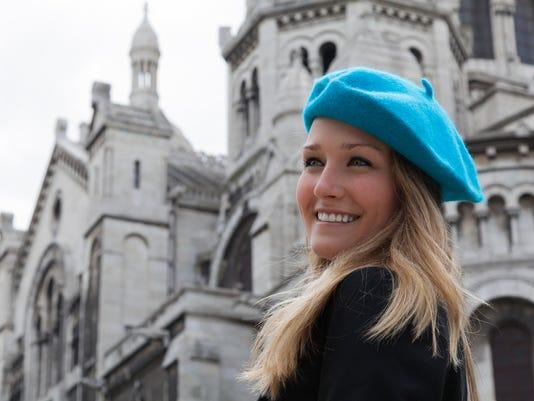 Smiling Student Looking Toward Left  at Sacre Coeur in Paris