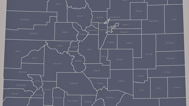 Colorado county map outline vector illustration and its location highlighted on USA map