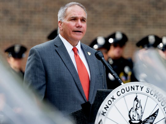 Knox County Schools Chief of Security Gus Paidousis speaks during a press conference on new safety measures being implemented across Knox County Schools at South Doyle Middle School in Knoxville, Tennessee on Thursday, July 27, 2017.