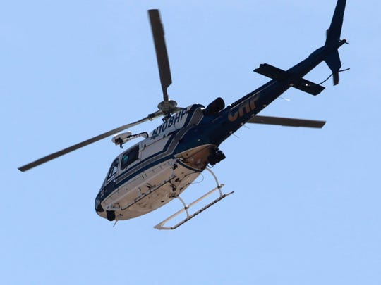 A California Highway Patrol helicopter was used in the filming at Palm Desert High School Thursday.