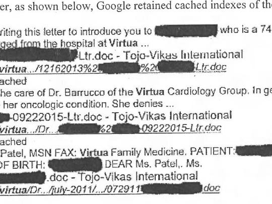 Private medical information for hundreds of Virtua Medical Group patients was inadvertently made public online. Indexed information was still available through a Google search for a couple weeks after the problem was first discovered by a contractor.