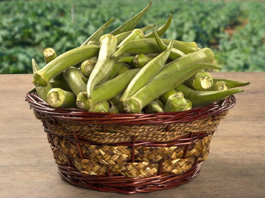 okra on wooden background