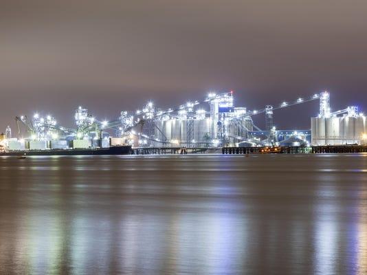 Refinery illuminated at night