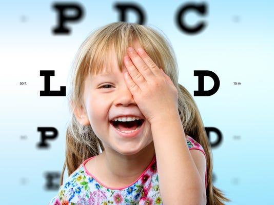 Girl having fun at vision test.