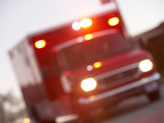 Defocused shot of ambulance on a city street