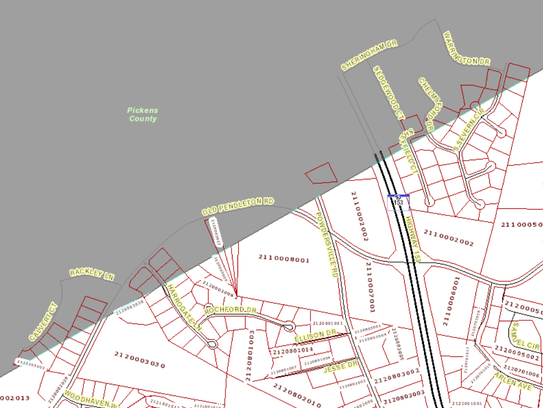 This map shows some of the dozens of parcels that line