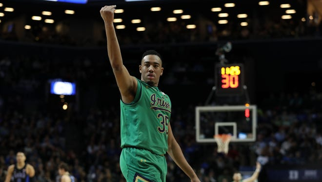 Notre Dame Fighting Irish forward Bonzie Colson (35) gestures to the crowd during the second half against the Duke Blue Devils during the ACC Conference Tournament Final at Barclays Center. Duke Blue Devils won 75-69.
