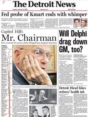 The front page of The Detroit News on Tuesday, Oct. 11, 2005.