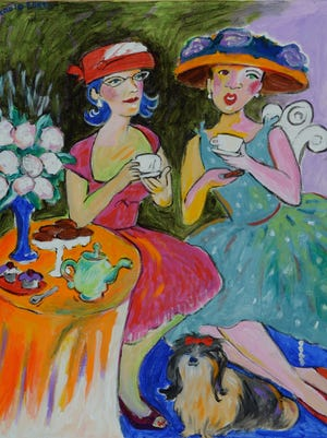 """Painter Stacie Flint's """"The Latest News"""" shows her colorful, whimsical style."""