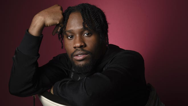 """Shameik Moore, a cast member in """"Spider-man: Into the Spider-Verse,"""" poses for a portrait at the Four Seasons Hotel in Los Angeles."""