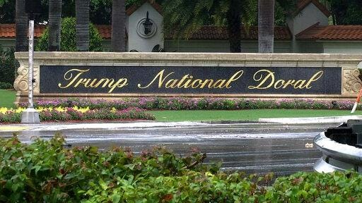 FILE - This June 2, 2017 file frame from video shows the Trump National Doral in Doral, Fla. President Donald Trump?s golf resort near Miami is hosting a tournament where strippers will serve as caddies. The Shadow All Star Tournament is organized by a Hialeah strip club, Shadow Cabaret. The club is advertising on Facebook and its website that the event will be held Saturday, July 13, 2019 at Trump National Doral.