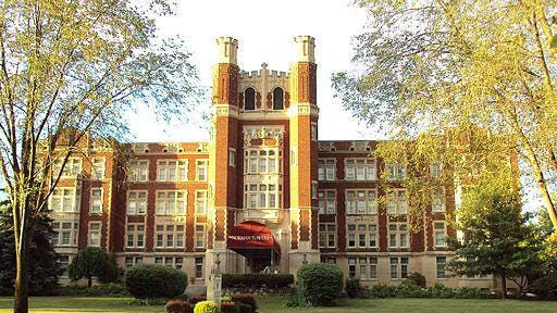 Designed in Tudor-Gothic style by Detroit-based church architect, Harry J. Rill, the Hall of the Divine Child was a boys boarding school operated by the Sisters, Servants of the Immaculate Heart of Mary (IHM). Today it is known as Norman Towers.