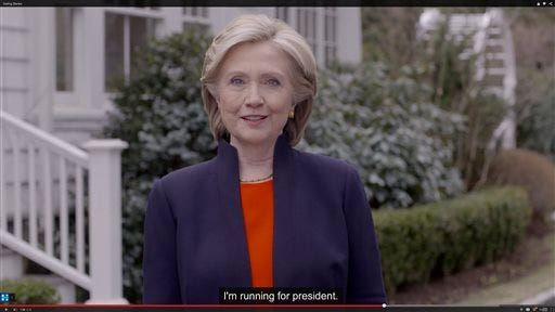 Hillary Clinton officially launches her 2016 Hillary For America campaign Sunday, April 12, 2015.